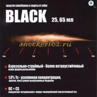 Аэрозольно-струйный газовый баллончик Black 25 мл.